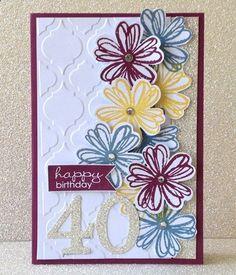 Stampin' Up! Flower Shop Bundle: 40th Birthday Card - Simone Bartrum, Stampin Up! demonstrator - Victoria, Australia
