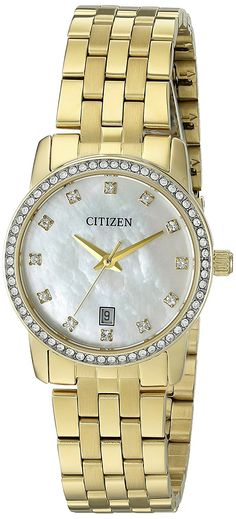 Citizen EU6032-51D Quartz Gold Tone Stainless Steel Watch Case *** Check out the watch by visiting the link.