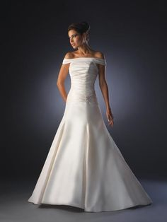 A Line Corset Off The Shoulder Pleated Court Train Satin Wedding Dress for Brides  Starting at: $269.98