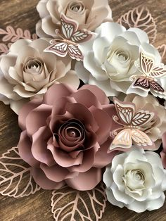 Paper Roses with Butterflies