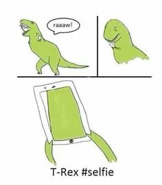 Hilarious cartoon of T-Rex trying to take a selfie with its short hands and big head. Find the funniest pictures at Crazy Hyena. T Rex Humor, Memes Humor, Rage Comics, Funny Comics, Funny Images, Best Funny Pictures, Funny Jokes, Hilarious, T Rex Jokes