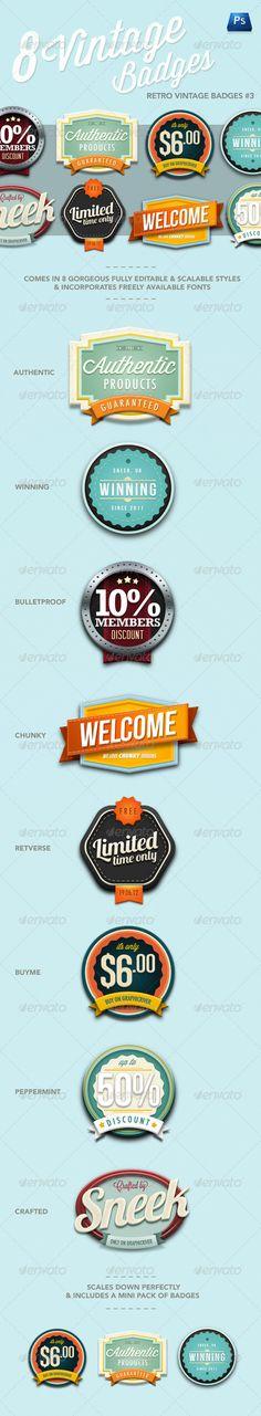 Web Elements - Retro Vintage Badges #3 | GraphicRiver
