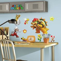 35 SUPER MARIO NINTENDO GAME BIG Wall Decals Stickers Bowser YOSHI Room Decor  #Roommates