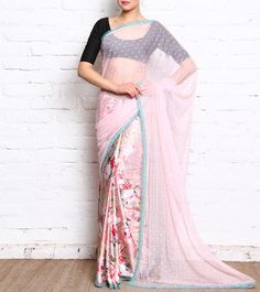 Pink Printed Satin Saree With Thread Work