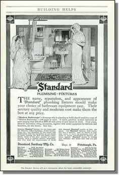 1914 Standard Plumbing Fixtures for Bathrooms Print-Ad