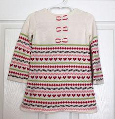Girl's JANIE & JACK Gingerbread Spice White Pink Knit Sweater Dress 18 24 M #JanieandJack #SweaterDress #HolidayEverydayParty