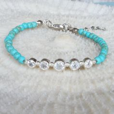 Turquoise Bracelet with quintet zirconia  sterling by CharmByIA, $25.00