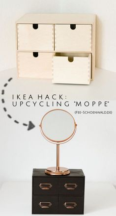 Ikea Upcycling Hack: The Moppe Dresser as make-up storage in black-copper . - Ikea DIY - The best IKEA hacks all in one place Bedroom Hacks, Ikea Bedroom, Bedroom Decor, Budget Bedroom, Girls Bedroom, Ikea Hacks, Hacks Diy, Ikea Furniture, Furniture Makeover