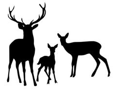 Deer Family Stencil Made from 4 Ply Mat Board-Choose a Size-From to Hirsch Silhouette, Animal Silhouette, Silhouette Art, Silhouette Pictures, Deer Stencil, Stencils, Deer Art, Moose Art, Image Svg