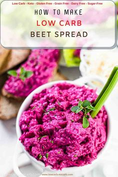 This Best Low Carb Oven Roasted Beet Spread Recipe is perfect for your Keto Breakfast or a snack to take with your work. Fully Gluten-Free and Grain-Free, this Beautiful Low Carb Purple Spread filled with roasted garlic and beets can perfectly be paired with Keto Veggies or Keto Crackers for your next party gathering. Healthy Dip Recipes, Low Carb Recipes, Snack Recipes, Roasting Beets In Oven, Oven Roast, Lowest Carb Bread Recipe, Low Carb Bread, Roasted Beets, Roasted Garlic