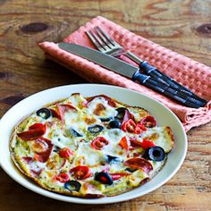 Egg-Crust Breakfast Pizza Recipe with Pepperoni, Olives, Mozzarella, and Tomatoes