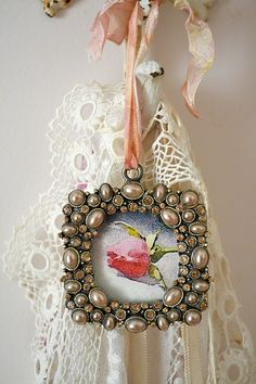 Pearls and lace - using Krystal's remnants from her wedding dress to make cute tags for hat boxes or decorative boxes.