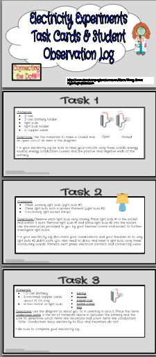 Print and go Electricity Task Cards and Student Sheets Only $2.00