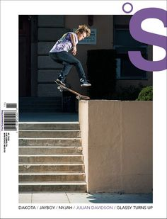 Julian Davidson, Kickflip Fronstide Noseslide for the cover of The Skateboard Mag #128. Photo: Atiba Jefferson
