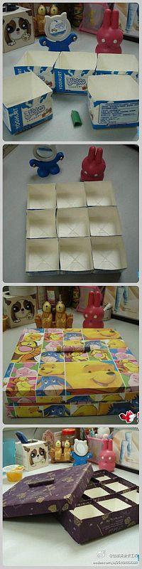 Sortierkiste aus Milchkartons und Papier / Stoff