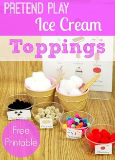 """This would be GRAND to use in conjuction with our """"Ice Cream Cones and Frozen Pops""""! Expand your play therapy! Printable Labels for the Pretend Play Ice Cream Shop in Preschool and Kindergarten Play Ice Cream, Ice Cream Theme, Dramatic Play Area, Dramatic Play Centers, Pre K Pages, Ice Cream Toppings, Play Based Learning, Play Centre, Pretend Play"""