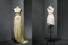 """Left: Madeleine Vionnet (French, 1876–1975). Evening Dress, 1936, Haute Couture. Right: Issey Miyake (Japanese, born 1938) for Miyake Design Studio (Japanese, founded 1970). """"Colombe"""" Dress, spring/summer 1991, Prêt–à–Porter. Photo © Nicholas Alan Cope. #ManusxMachina #CostumeInstitute"""