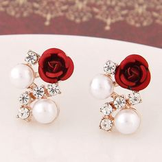 Boucle d'oreille 2017 Fashion Simulated Pearl Stud Earrings for Women Crystal Flower Pendientes Mujer Bijoux Femme Brincos