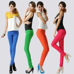 Candy Color Womens Stretch Pencil Pants Casual Slim Skinny Jeans Trouser Hot!!!