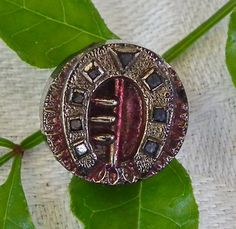 Antique Button Victorian Black Glass Button Horseshoe Silver Lustre and Red tint . Antique Pictorial Button c.1870 Small