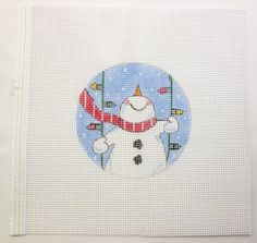 Snowman Swinging on Christmas Lights by MarsyesNPCanvas on Etsy