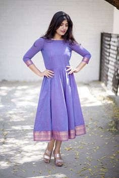 Minakshi Lavender Mangalgiri Midi Dress Breezy Mangalgiri Cotton Fit and Flare Dress with Gathers and Zari Border Detailing Long Gown Dress, Sari Dress, The Dress, Long Frock, Frock Dress, One Piece Dress, Designer Kurtis, Indian Designer Outfits, Designer Dresses