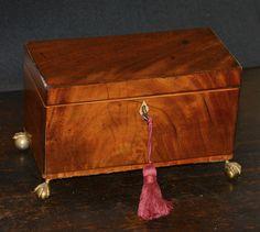 Antique English Georgian period Mahogany Tea Caddy Box C.1785   Etsy Antique Items, Vintage Items, Tiny Shop, Pergola Lighting, Tea Caddy, Jewelry Case, Green Velvet, Hope Chest, Georgian