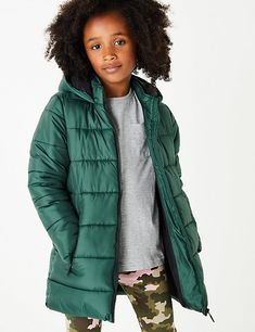 Buy the Hooded Mid-Weight Padded Coat Years) from Marks and Spencer's range. Festive Jumpers, Knitted Christmas Jumpers, Suit Shop, Kits For Kids, Lingerie Collection, Casual Shirts, Hoods, Women Wear, Winter Jackets