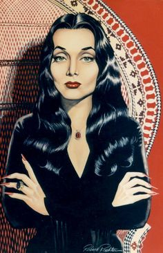 Morticia Addams (Carolyn Jones) from The Addams Family by Robert Rechter Addams Family Members, The Addams Family, Addams Family Tattoo, Adams Family Morticia, Carolyn Jones, Normal Is An Illusion, Dark Romance, The Munsters, Maquillage Halloween
