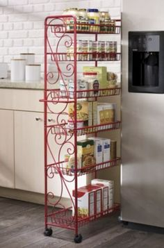 Narrow Kitchen Pantry Cabinet 2020 - Home Comforts Pantry Storage, Kitchen Organization, Kitchen Storage, Pantry Rack, Organizing, Narrow Kitchen, Kitchen Dining, Kitchen Decor, Rolling Pantry