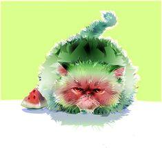 vector illustration watermelon cat