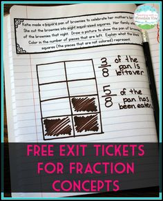 Free exit tickets for a wide variety of fraction concepts including simplifying, equivalent fractions, identifying fractions, improper fractions and mixed numbers, comparing fractions, and more!