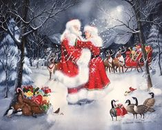 Offering Christmas Artwork, Santa Paintings and much more! Christmas Couple, Christmas Scenes, Christmas Past, Retro Christmas, Vintage Christmas Cards, Christmas Pictures, Winter Christmas, Christmas Houses, Father Christmas