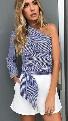 #spring #outfits  Striped Off The Shoulder Top + White Short