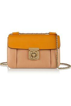 ChloéElsie medium two-tone textured-leather shoulder bag  #Chloe