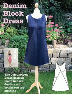 Sewing pattern for women. Available as a PDF or a paper pattern. Make in fabulous brights for a 60s look or cool denim for a casual everyday feel. Lots of ideas and advice on the blog post. Happy sewing!