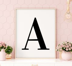 "Letter ""A"" Printable Art Poster, Alphabet A Letter Art, Typography Poster, Nursery Printable Wall Art, Inspirational Art *INSTANT DOWNLOAD* Quote Wall, Wall Art Quotes, Printing Websites, Online Printing, Letter Wall Art, Typography Poster, Printable Wall Art, Alphabet, Nursery"