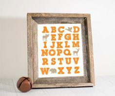 Woodland alphabet print nursery alphabet by RusticBabyBoutique, $18.00