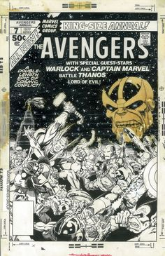 The cover to AVENGERS ANNUAL both with and without the vellum overlay for the background, by Jim Starlin. Comic Book Artists, Comic Artist, Comic Books Art, Jim Starlin, Jim Steranko, Anton, Jack Kirby Art, All Avengers, Nostalgia