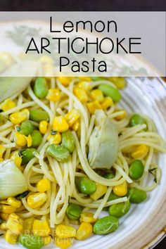 Spaghetti with Lemons and Artichokes is a kid-friendly and quick pasta dinner for any day of the week! #dizzybusyandhungry #lemon #pasta #kidfriendly #spaghetti #dinner