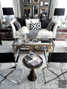 Refresh the look of your living room this year with a Black & White Living Room ReStyle - Key pieces from HomeGoods such as lamp shades + pillows + throws make it easy to do - Lynda Quintero-Davids - HappyByDesign - HomeGoodsHappy