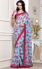 Sky Blue & Pink Color Linen Bhagalpuri Party Wear Sarees : Nayantara Collection YF-31999