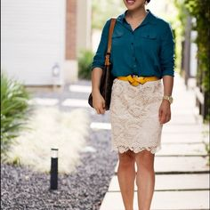 white lace crochet pencil skirt, teal silk button down shirt, studded nude pumps sole society anneke Lace Skirt Outfits, Pencil Skirt Outfits, Work Fashion, Fashion Looks, Fashion Design, Cream Lace Skirt, Spring Summer, Petite Fashion, White Lace