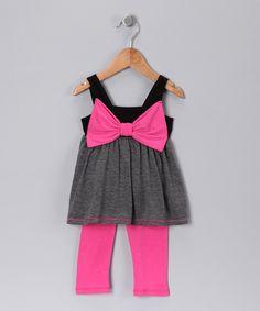 Black Stripe Bow Babydoll Tunic & Leggings - Toddler & Girls