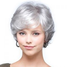 Fashion Towheaded Side Bang Silver White Mixed Gray Curly Capless Synthetic Short Wig For Women