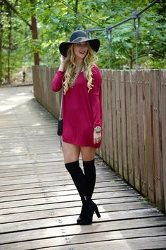 Fall style: Red Piko dress, black over the knee boots, felt hat.