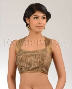 Cooper Crushed Tissue Sari Blouse - Buy Divya Kanakia Blouses Online | Exclusively.in