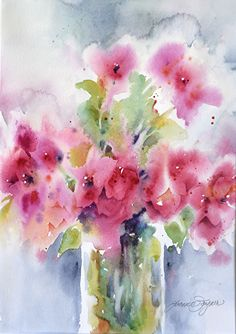 Cloudy with a chance of Bougainvillas by Yvonne Joyner Watercolor ~ 20 in. including mat x 16 in including mat