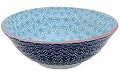 Zweifarbige Porzellanschale für Reis, Suppe, Salat, Gebäck oder Beilagen mit Muster in drei Größen, von CNB
