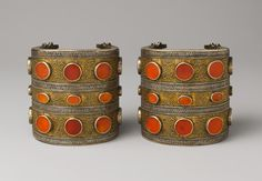 Armlet, late 19th–early 20th century | Central Asia or Iran. |  Silver, carnelian, turquoise